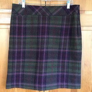L.L. Bean Women's Wool Purple Plaid Pencil Skirt
